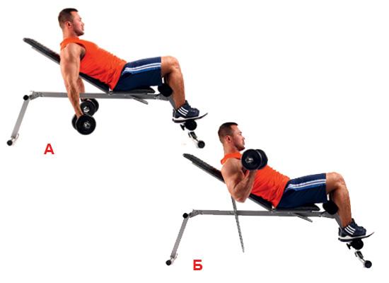 Вдигане на гири на наклонена пейка за по-голямо натоварване на мускулите.