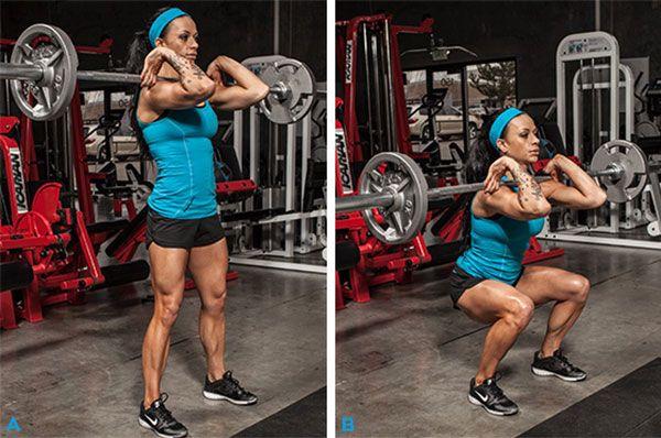 За постигане на фитнес целите за извайване на страхотно тяло - предни клекове с щанга за жени.