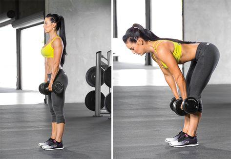 Румънска тяга - серии и повторения за жени за стягане на тялото и за отслабване.