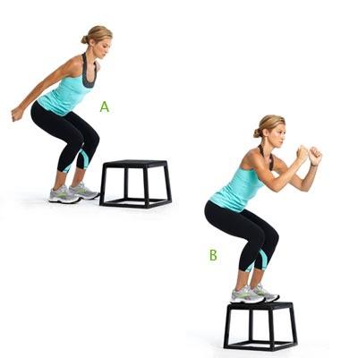 Скокове от място на платформа и клекове с щанга за страхотно фитнес тяло за жени.