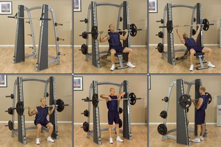 Силови упражнения на уреда на Смит - мъртва тяга, изтласкване, клекове с щанга.