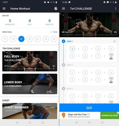 Home Workout е приложение, предназначено да Ви помогне да тренирате отделни части на тялото индивидуално